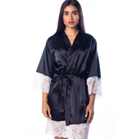 Women's Lace Satin Silky Robe Kimono for Bride Bridesmaids Flower Girls Comfy Robe for Kids and Plus Size Women YS Black