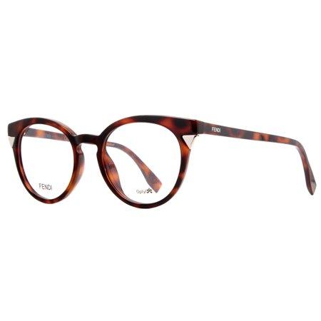 Fendi Ff 0127 Mql 48Mm Havana Womens Cat Eye Round Eyeglasses