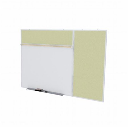 Ghent SPC48B-V-181 4 ft. x 8 ft. Style B Combination Unit - Porcelain Magnetic Whiteboard and Vinyl Fabric Tackboard - Caramel