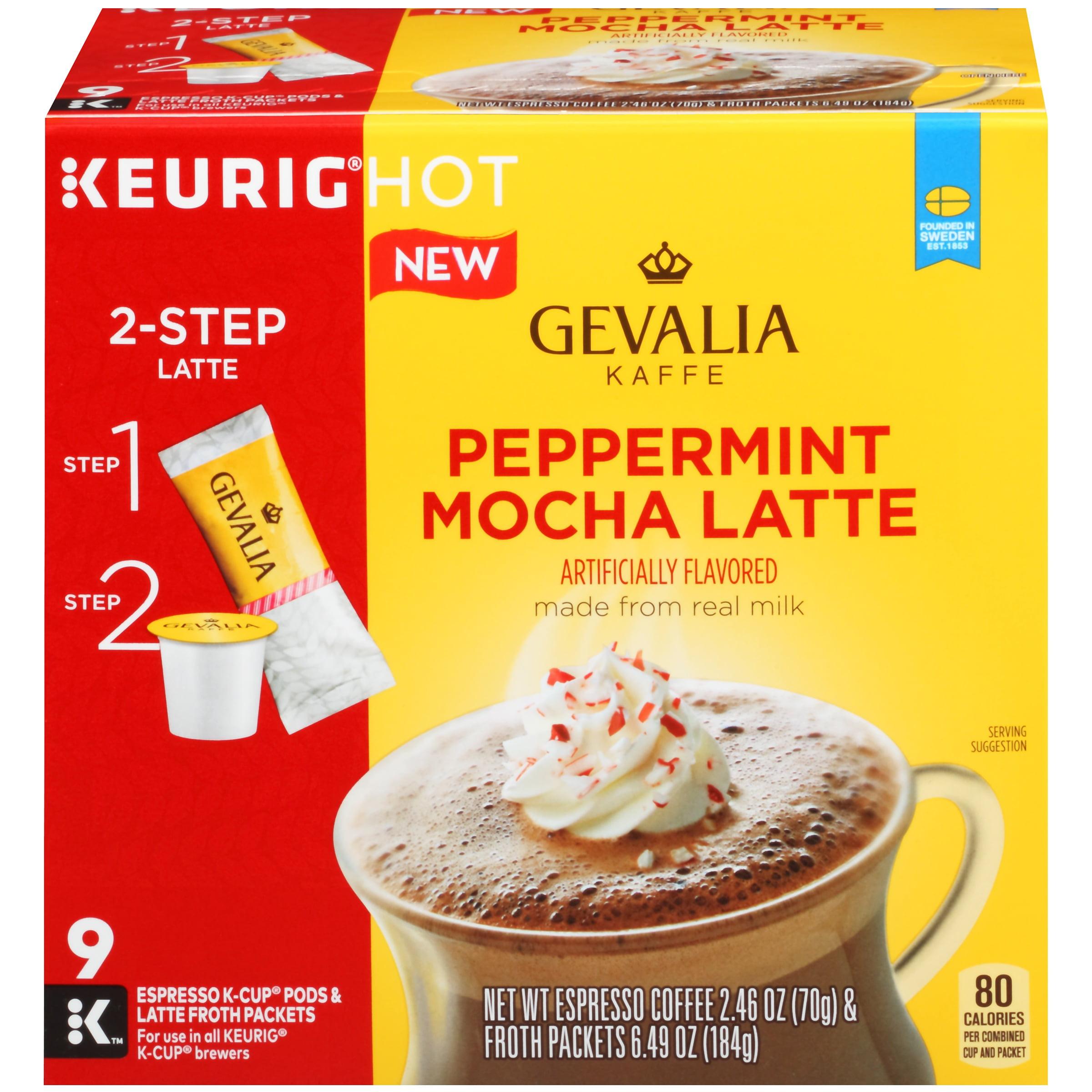Gevalia Peppermint Mocha Latte Espresso K-Cup Pods & Latte Froth Packets 9 ct Box