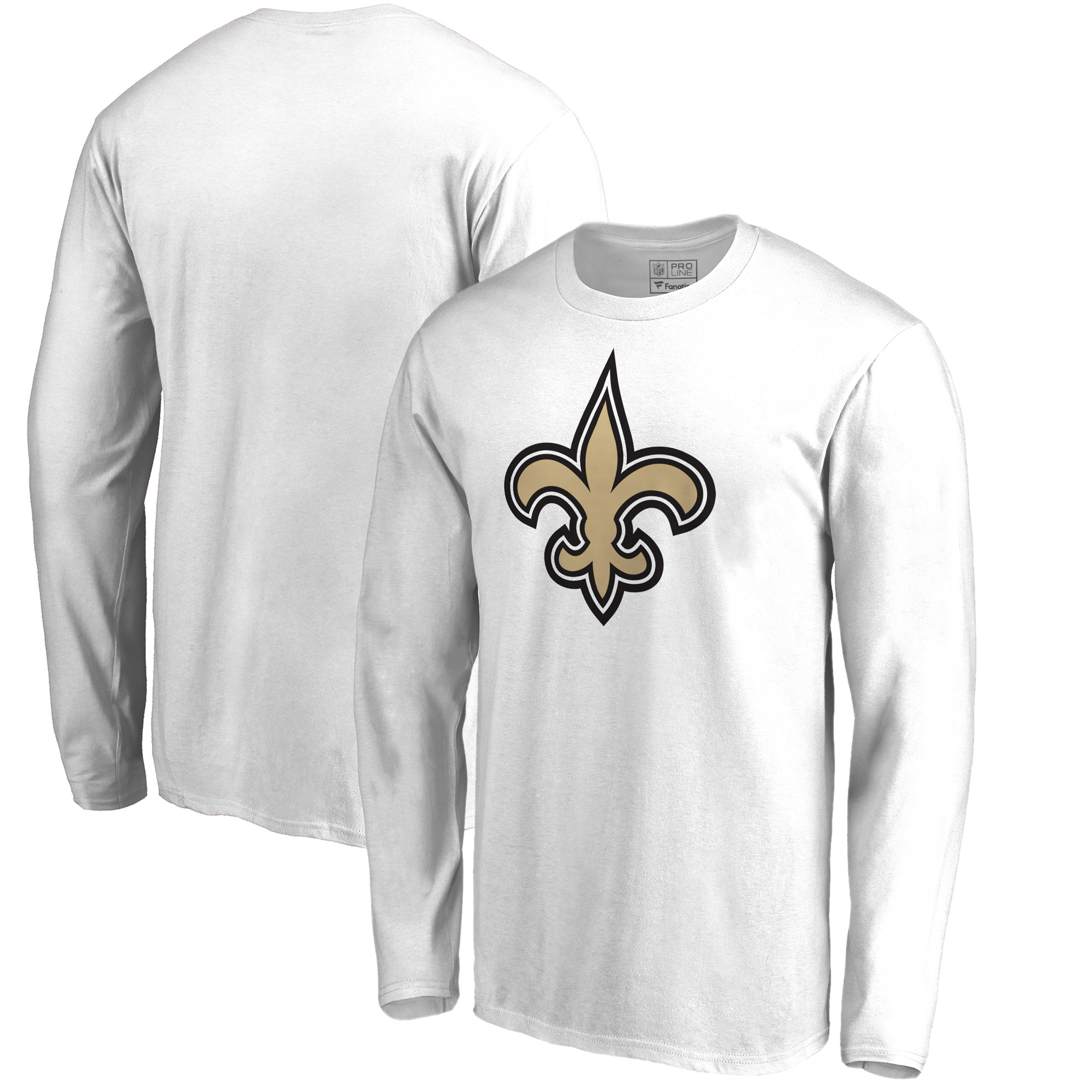 New Orleans Saints NFL Pro Line by Fanatics Branded Team Primary Logo Long Sleeve T-Shirt - White