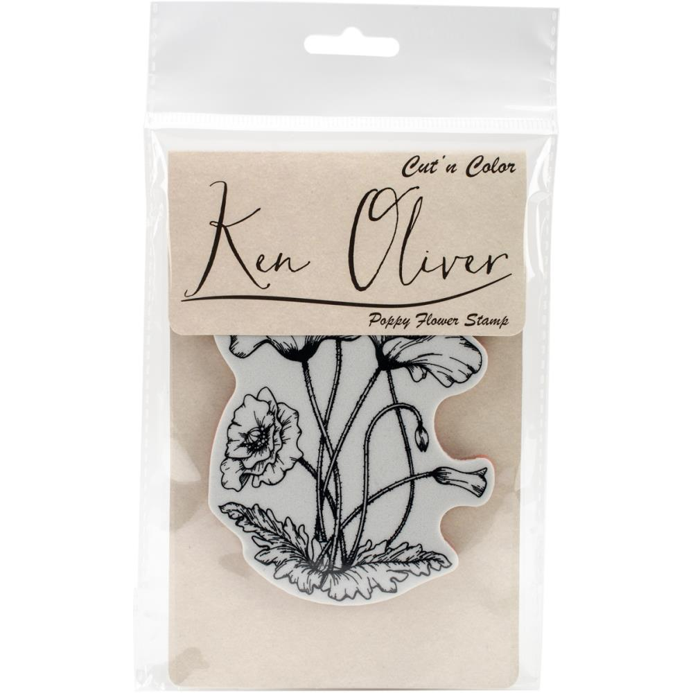 Ken Oliver Cut n Color Cling Stamp-Poppy Flower
