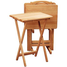 Furinno Easi Folding TV Tray Table 2-PC Set, Beech (12081BE ...