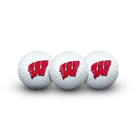 Wisconsin Badgers NCAA Team Logo Three Pack Golf Balls - Team Color
