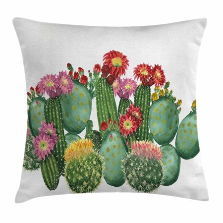 (Cactus Decor Throw Pillow Cushion Cover, Saguaro Barrel Hedge Hog Prickly Pear Opuntia Tropical Botany Garden Plants, Decorative Square Accent Pillow Case, 18 X 18 Inches, Multicolor, by Ambesonne)