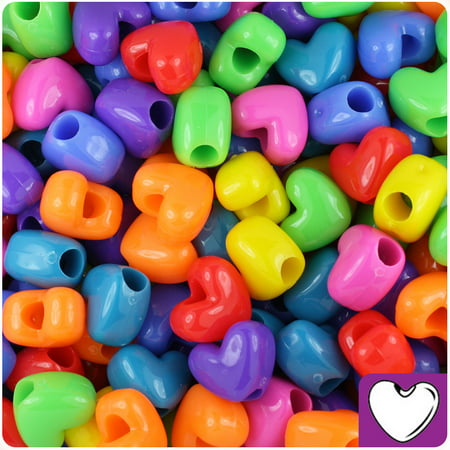 BeadTin Circus Mix Opaque 12mm Heart Pony Beads - Other Glass Beads
