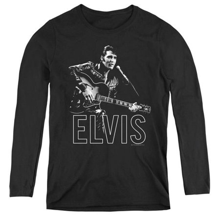 Trevco Sportswear ELV773-WL-1 Womens Elvis Presley & Guitar in Hand Long Sleeve T-Shirt, Black -
