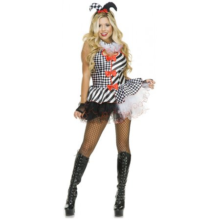 Black and White Jester Adult Costume - - Black White Costume