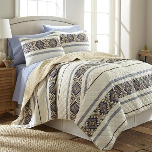 Shavel Home Products Micro Flannel Lodge Stripe 3-piece Quilt Set