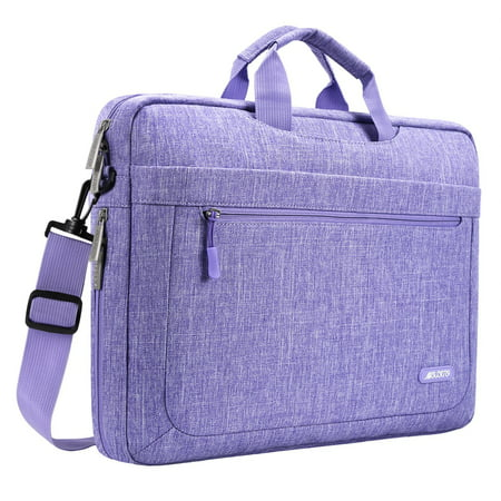 Business Briefcase Messenger (Mosiso Messenger Laptop Shoulder Bag for 15-15.6 Inch new MacBook Pro Notebook Compatible with 14 Inch Ultrabook Polyester Briefcase with Adjustable Depth at Bottom,Purple )