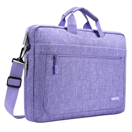 Mosiso Messenger Laptop Shoulder Bag for 15-15.6 Inch new MacBook Pro Notebook Compatible with 14 Inch Ultrabook Polyester Briefcase with Adjustable Depth at Bottom,Purple - Keen Laptop Bag