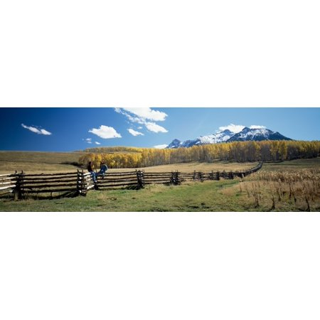View of the Last Dollar Ranch Mount Sneffels Sneffels Range San Juan Mountains Ouray County Colorado USA Stretched Canvas - Panoramic Images (12 x 36)