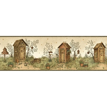 Brewster Home Fashions Borders by Chesapeake Twain Garden Outhouse Portrait 15' x 6'' Scenic 3D Embossed Border (Line Embossed Border)