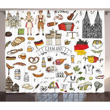 German Curtains 2 Panels Set, Hand Drawn Doodle of German Culture Icons Football Jersey Food Science and Music, Window Drapes for Living Room Bedroom, 108W X 90L Inches, Multicolor, by Ambesonne