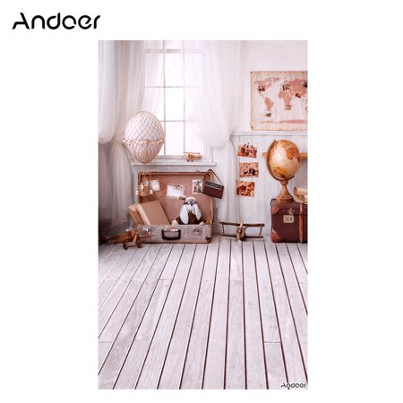Andoer 1.5 * 0.9m/5 * 3ft Travel Theme Photography Background World Map Tellurion Luggage Wood Floor Backdrop for Newborn Baby Photo Studio Pros - Mlp Background