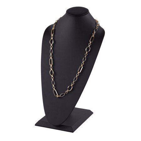Tall Black Faux Leather Necklace Display - covid 19 (Fossil Leather Necklace coronavirus)