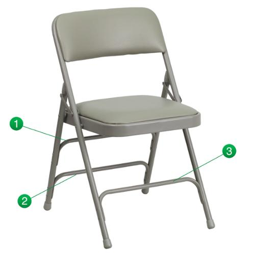 Hercules Series Curved Triple Braced and Quad Hinged Vinyl Upholstemetal Folding Chair Gray