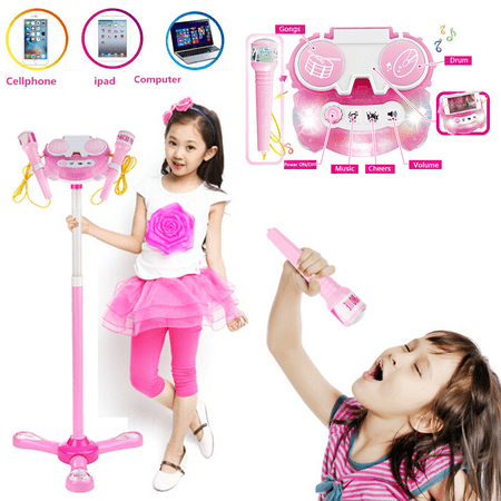 Karaoke Disco Light Adjustable Dual Mic & Speaker Stand! +Aplause+Cheers Includes 10 pre-Loaded Popular Songs and Connects to Ipa d ,iPods, Smartphones & MP3 Players ,Computer