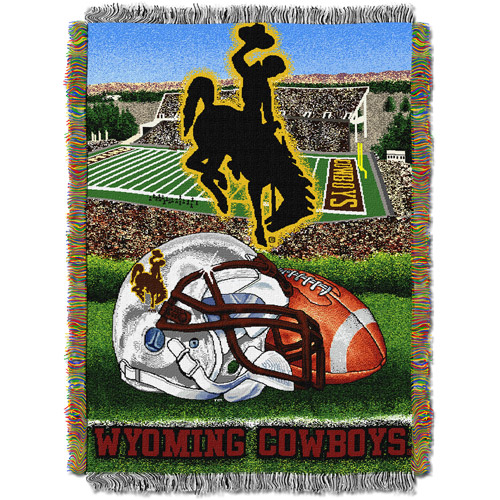 """NCAA 48"""" x 60"""" Tapestry Throw Home Field Advantage Series- Wyoming"""