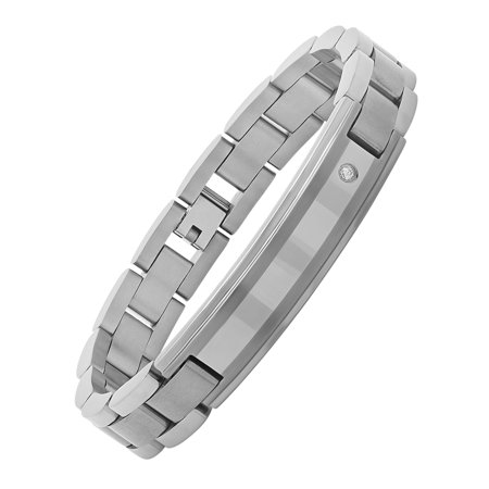Men's Gray Diamond Accent Titanium ID Bracelet, 8.5