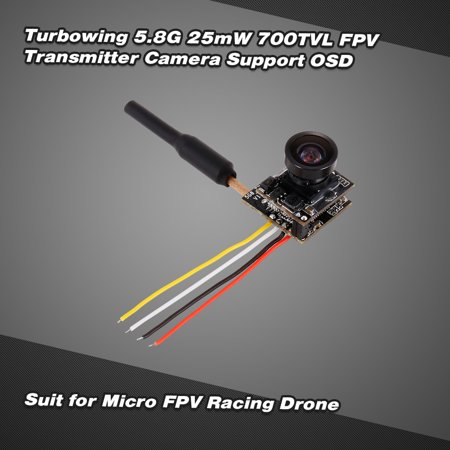 Turbowing 48CH 25mW NTSC/PAL 700TVL FPV Transmitter Camera 120° Lens Support OSD for Inductrix QX90 Micro Racing Drone - image 7 of 7