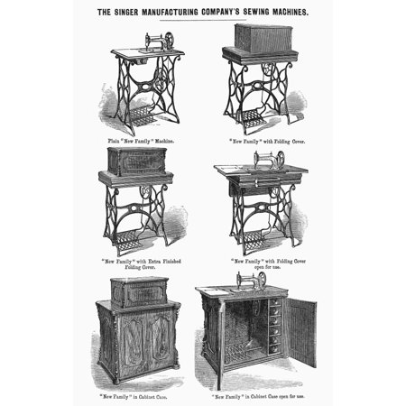 Singer Sewing Machines. /Nvarious Models Of Singer Sewing Machines, Mid 19Th Century. Line Engraving. Poster Print by Granger Collection Singer Sewing Machines Nvarious Models Of Singer Sewing Machines Mid 19Th Century Line Engraving Print is a licensed reproduction that was printed on Premium Heavy Stock Paper which captures all of the vivid colors and details of the original. The available sizes and options for this image are listed above. Ready to frame or just hang dorm room style! Great poster for any room.
