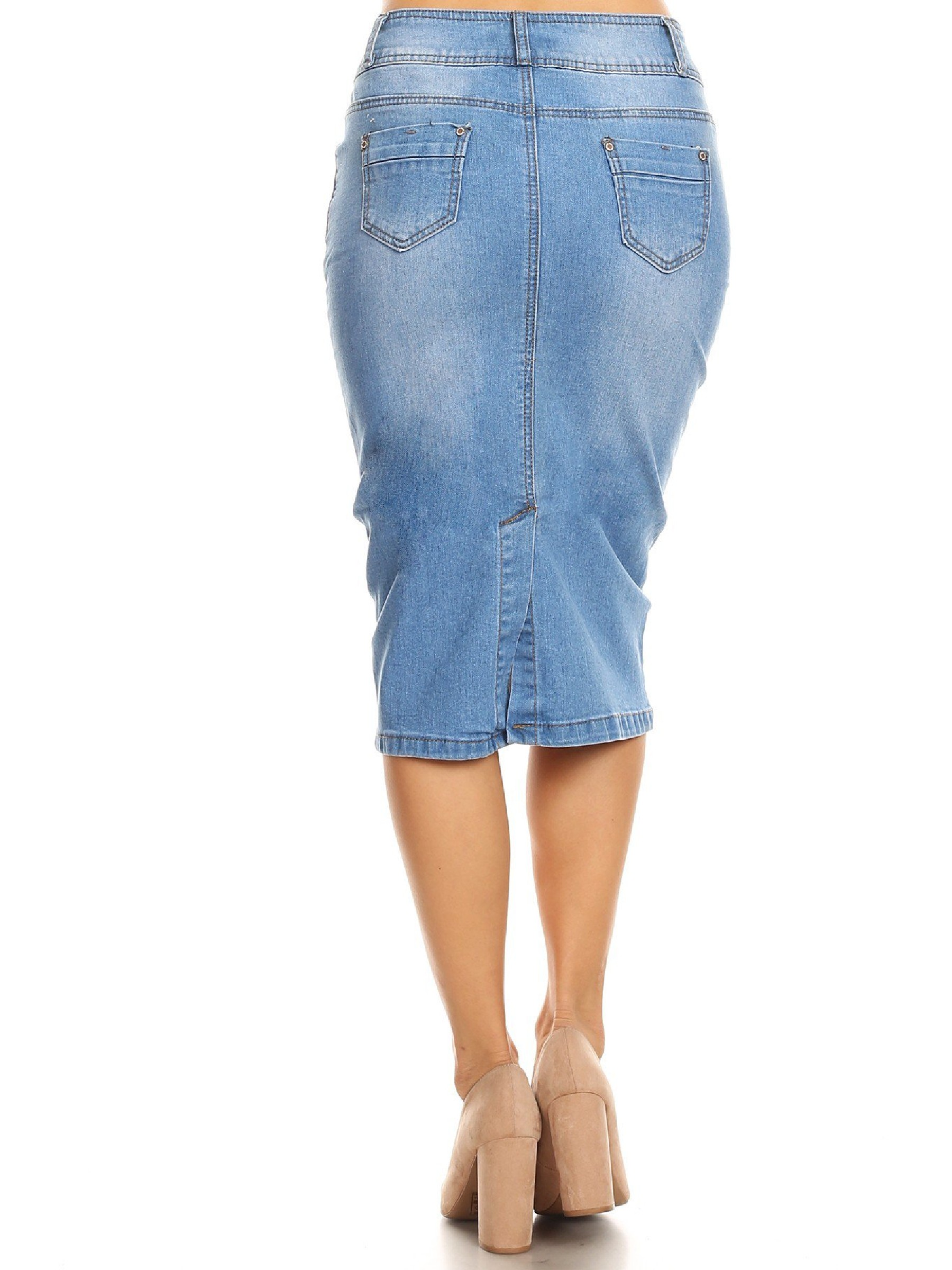13ea035d0 Fashion2love - Womens Plus/Juniors Mid Waist Below Knee Length Denim Skirt  in Pencil Silhouette - Walmart.com