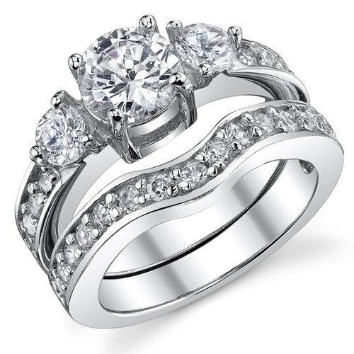 Bonndorf Laboratories Sterling Silver Round Cubic Zirconia 925 Wedding Band Engagement Ring Set