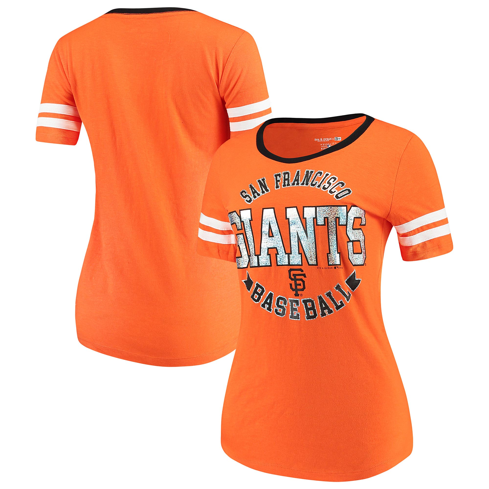 San Francisco Giants 5th & Ocean by New Era Women's Slub Jersey Scoop Neck Sleeve Stripes T-Shirt - Orange