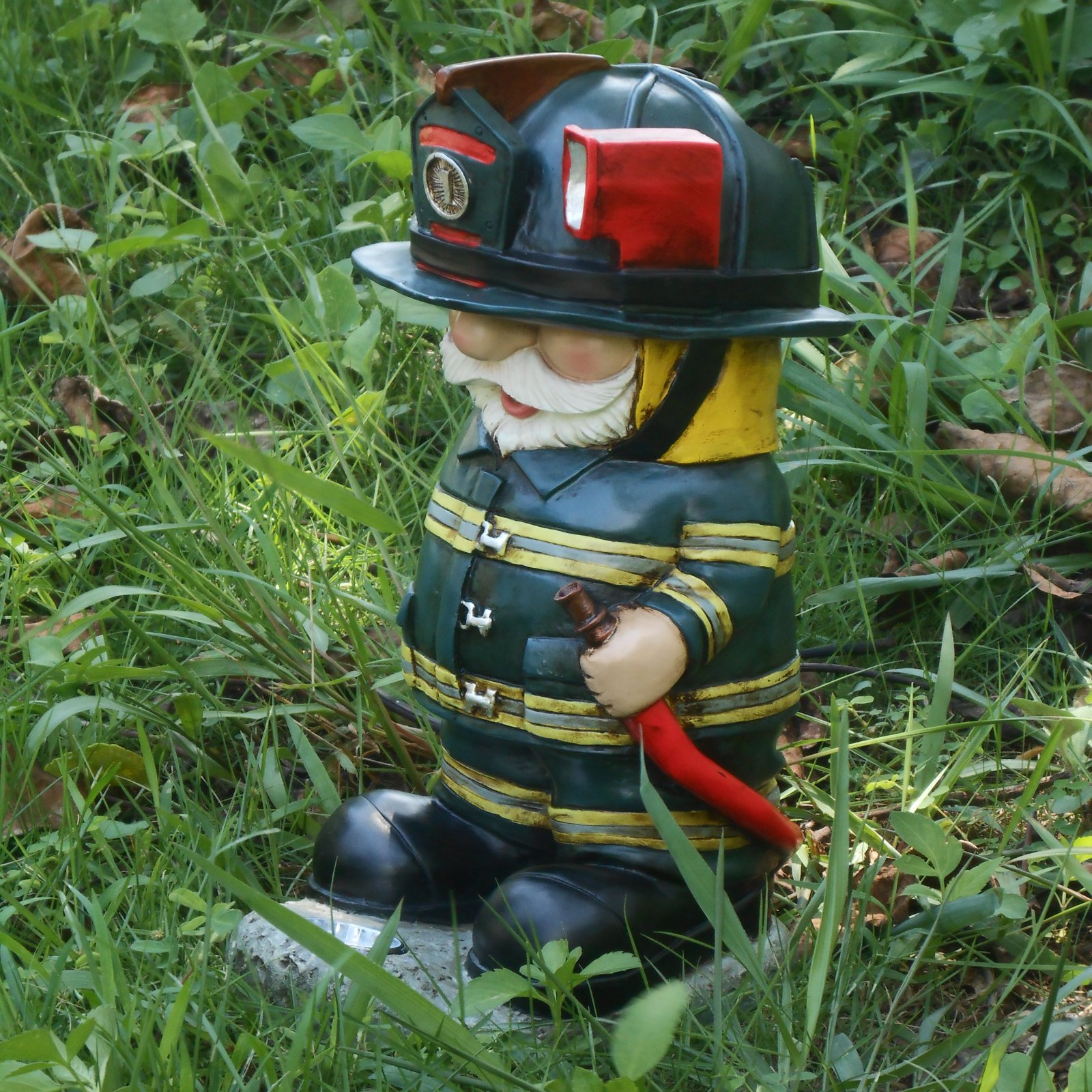 Hi-Line Gift Ltd. Light Torch Fireman Gnome with Hose Garden Statue by Hi-Line Gift Ltd.