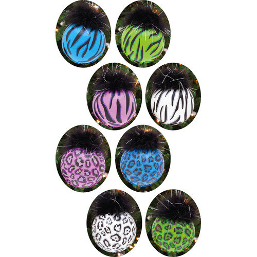 Cypress Home Zebra / Leopard Glass Ball with Maribou Ornament (Set of 8)
