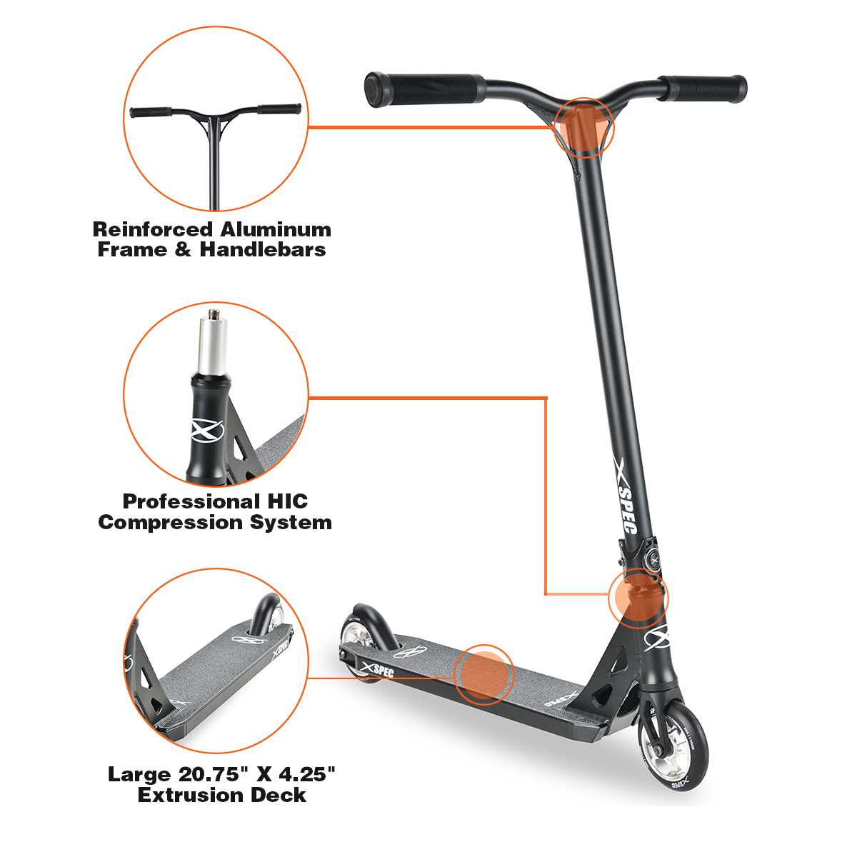 Xspec 912 Aluminum Outdoor Pro Push Stunt Kick Scooter, Black by Xspec