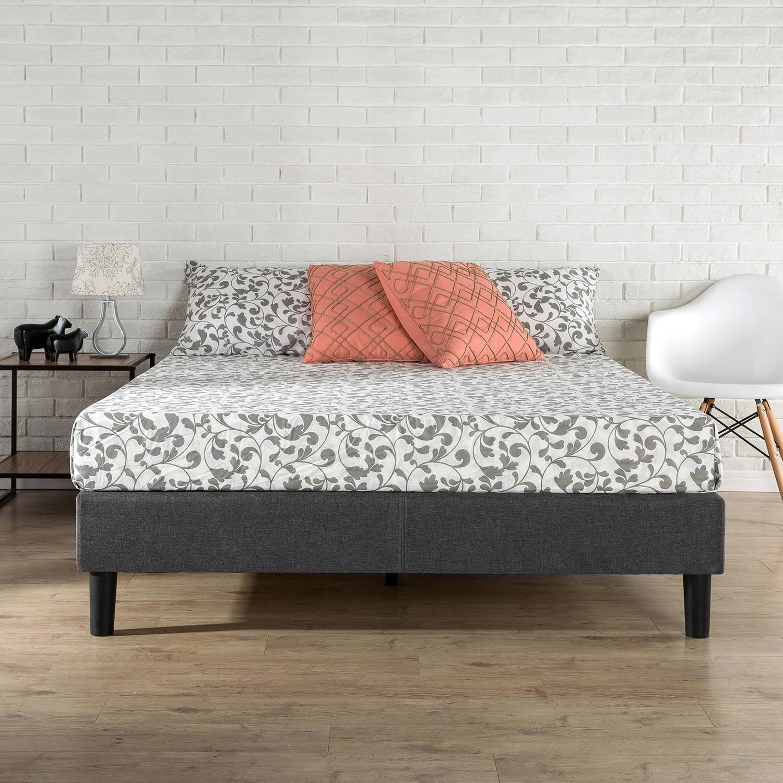 Zinus Essential Upholstered Platform Bed with Wood Slats Walmartcom