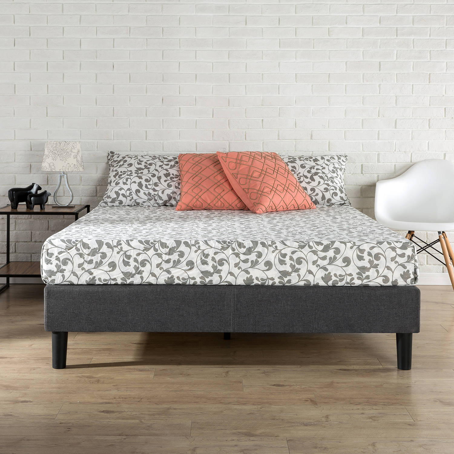 zinus essential platform bed grey