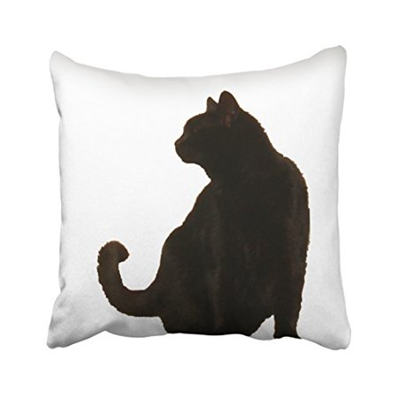 WinHome Vintage Fashion Halloween Black Cat Silhouette Art Polyester 18 x 18 Inch Square Throw Pillow Covers With Hidden Zipper Home Sofa Cushion Decorative Pillowcases - Halloween Silhouettes Art Project
