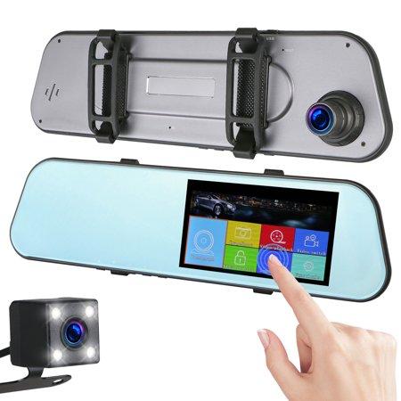 "7"" HD 1080P Car DVR Dual Lens Camera Vehicle Rearview Mirror Video Dash Cam Recorder"