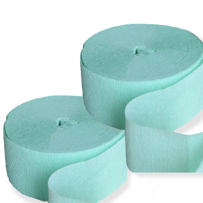 2 Mint Green Streamers 81 FT Crepe Paper Party Decoration