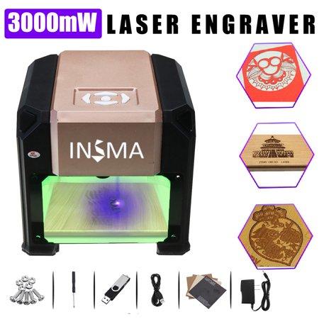 INSMA【for WIN for Mac OS System】3000mW Desktop USB Laser Engraver DIY Logo Mark Printer Cutter Carver Engraving Machine with Eyes Protective
