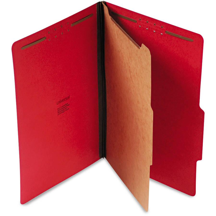 Universal Pressboard Classification Folders, Legal, 4-Section, Ruby Red, 10/Box