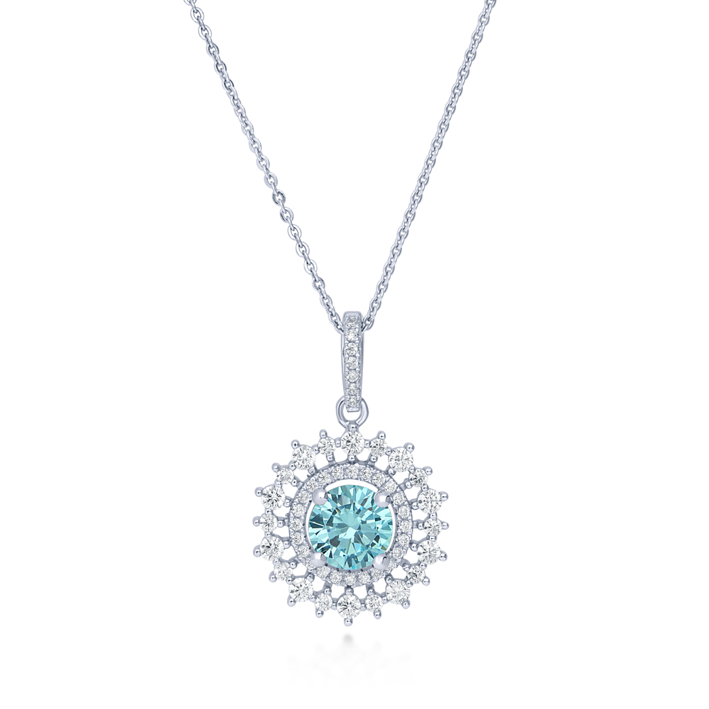 BERRICLE Rhodium Plated Sterling Silver Blue Cubic Zirconia CZ Fashion Pendant Necklace 18""