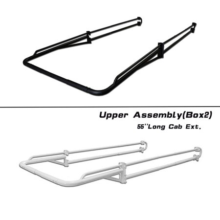 AA-Racks Adjustable Side bar + Long Over Cab. Extension for Basic Two-barred Truck Rack - Black (P39-LC-BX2-BLK) ()