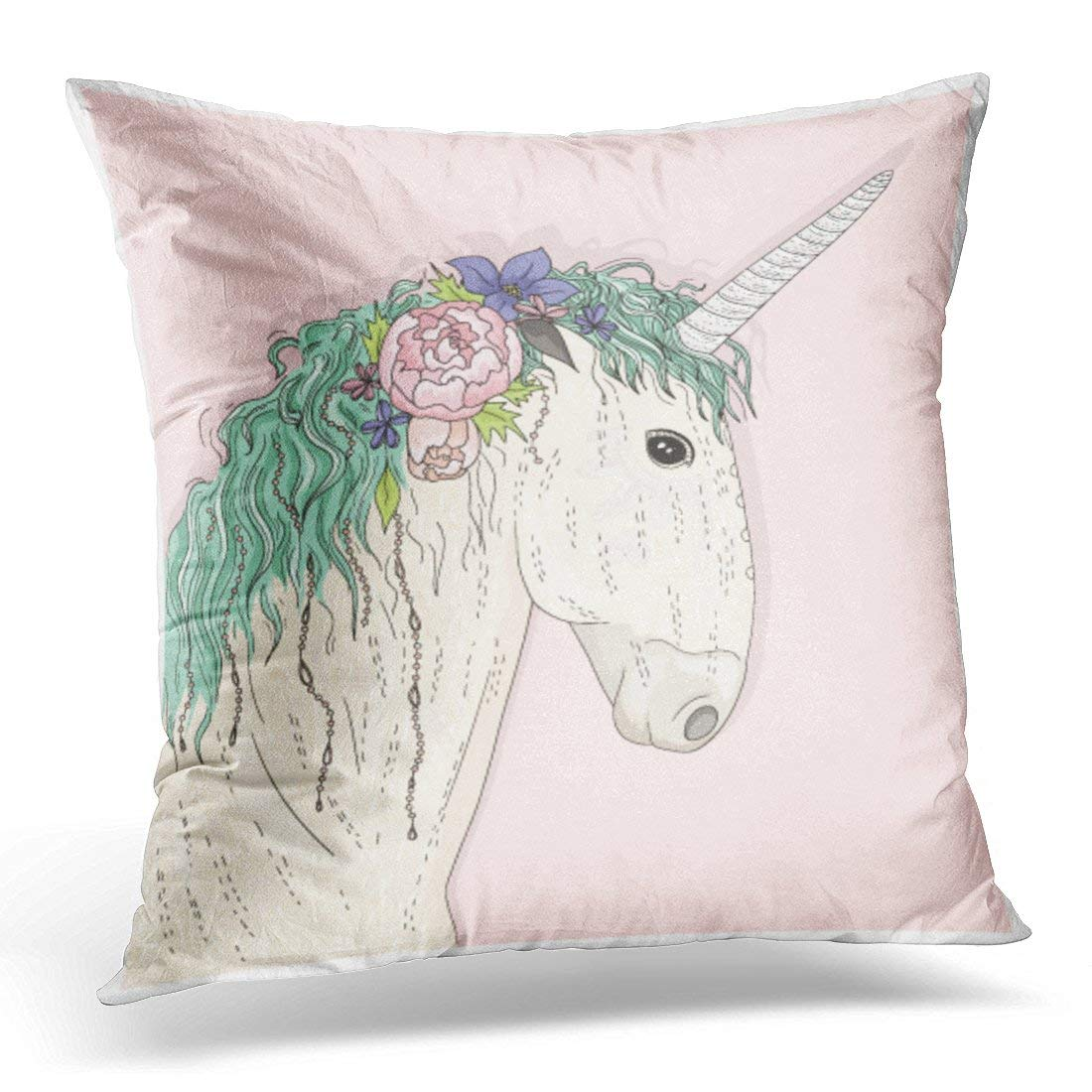 CMFUN Pink Animal Colorful Horse Cute Unicorn with Flowers Fairytale Children Green Abstract White Beautiful Pillow Case Cushion Cover 16x16 Inches