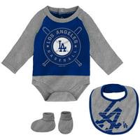 Los Angeles Dodgers Newborn & Infant Dugout Dude Bodysuit, Bib & Booties Set - Royal/Gray