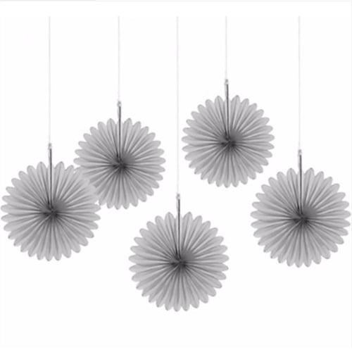 Silver Mini Hanging Fan Decorations (5ct)