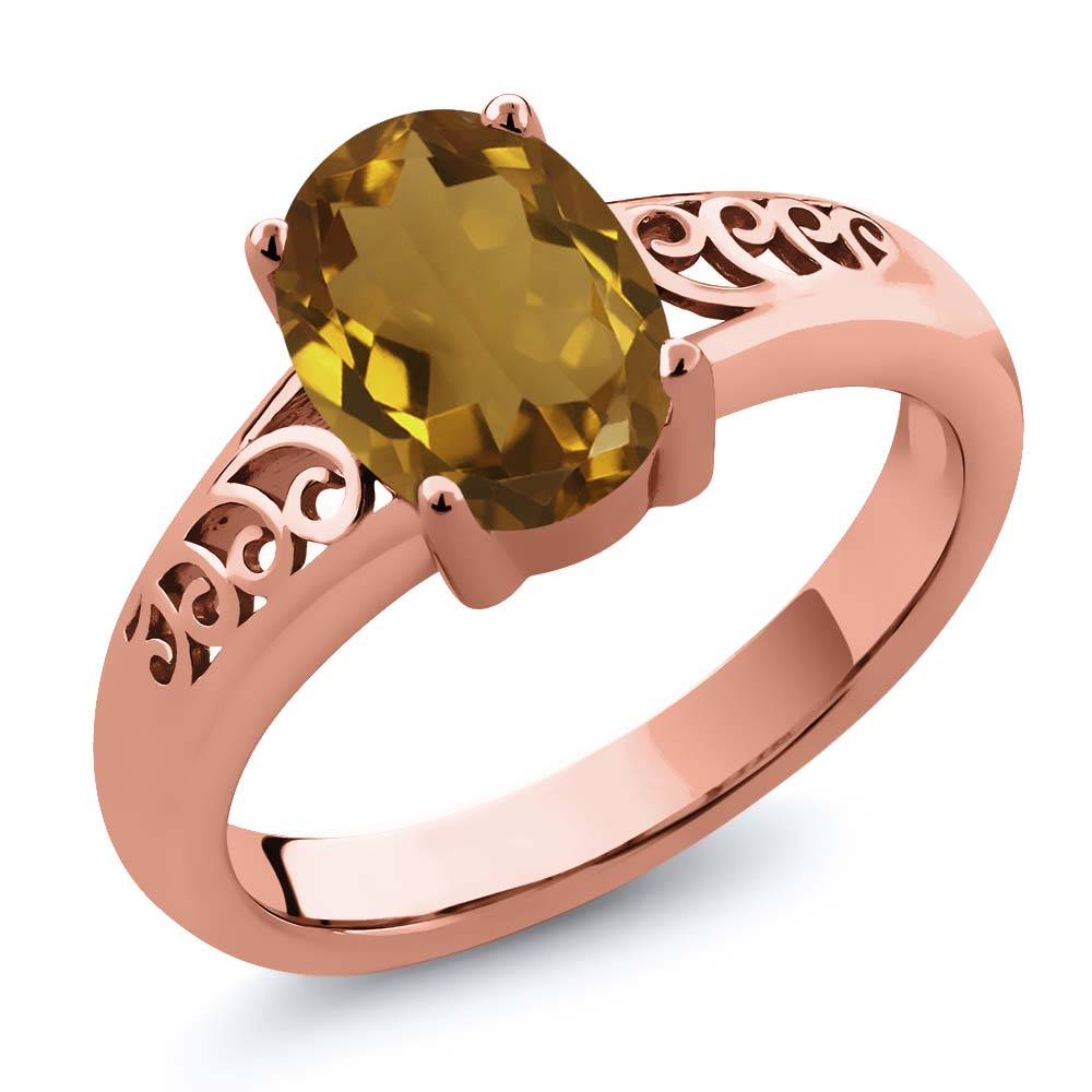 1.20 Ct Oval Champagne Quartz 18K Rose Gold Plated Silver Ring