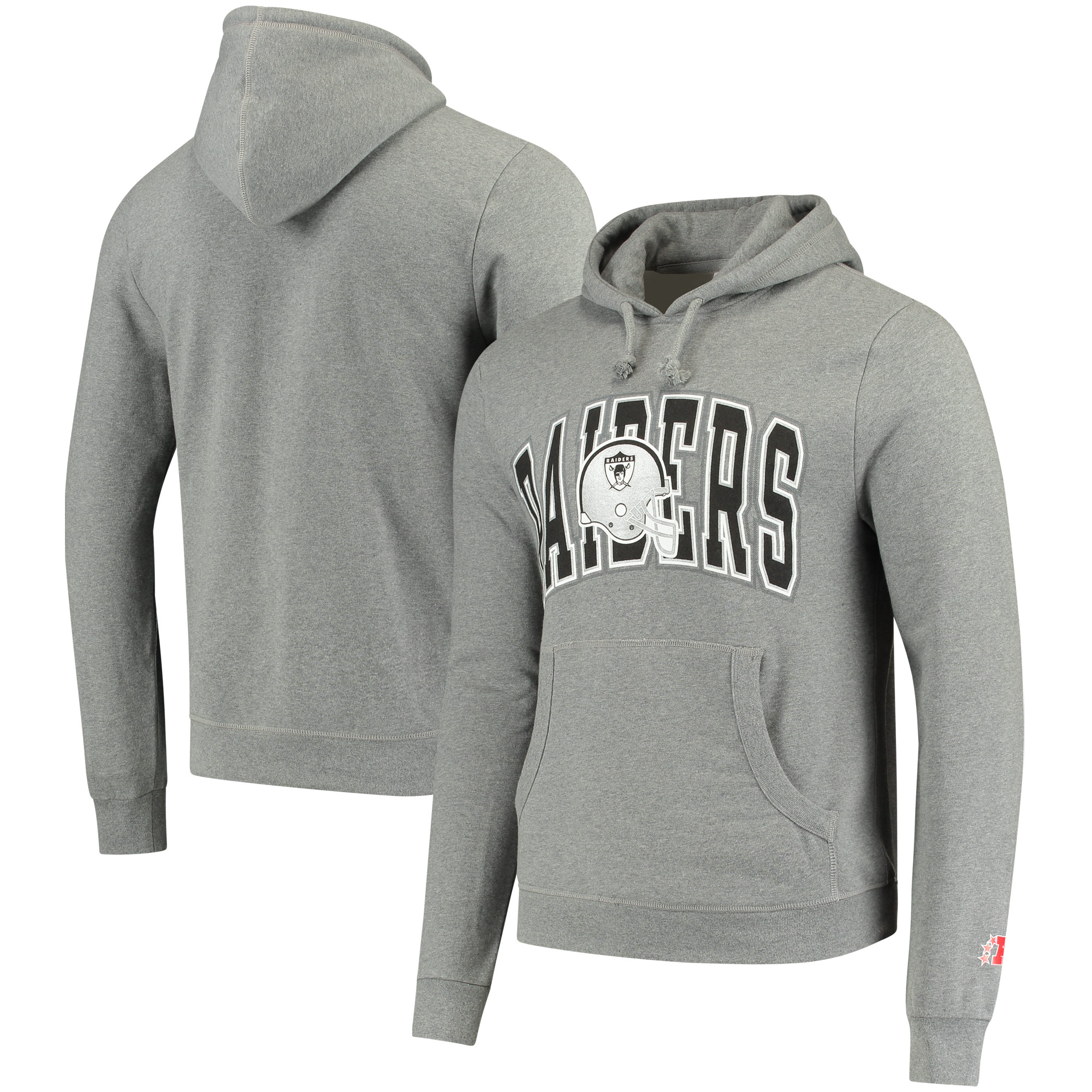 Oakland Raiders Mitchell & Ness Play Clock Pullover Hoodie - Heathered Gray