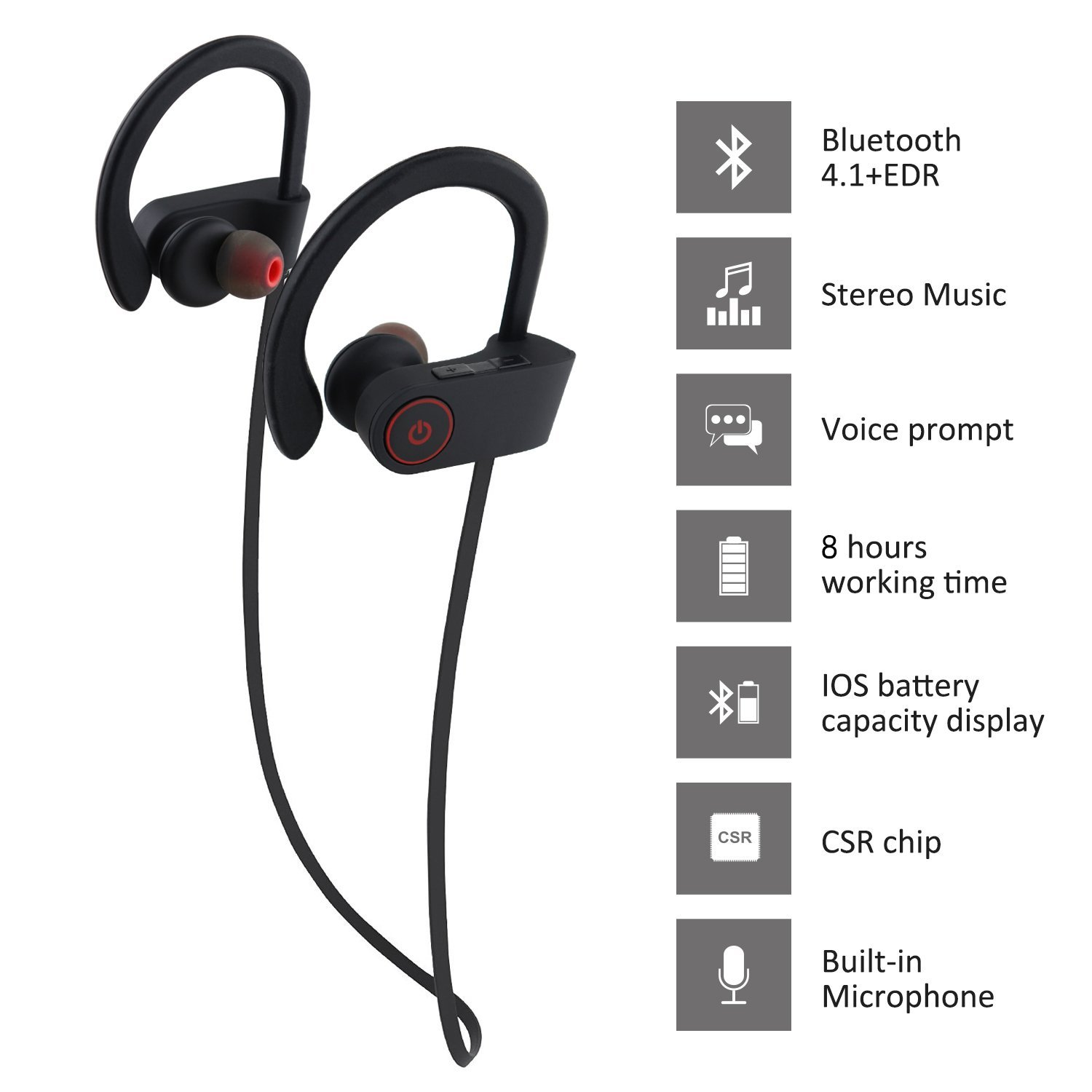 d5219e5564b Otium Bluetooth Headphones Best Wireless Sports Earphones w/ Mic IPX7  Waterproof HD Stereo Sweatproof In Ear Earbuds for Gym Running Workout 8  Hour Battery ...