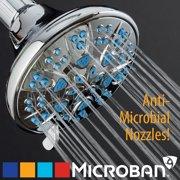 AquaDance Microban Antimicrobial/Anti-Clog High-Pressure 6-setting Shower Head, Chrome