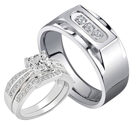 3 Pcs His Hers 2 0ct Sterling Silver Princess Cz Three Stone Anium Men Engagement Wedding Ring Set