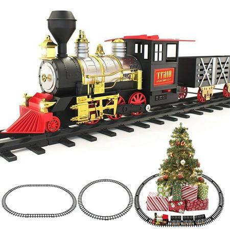 Classic Battery Operated Christmas Tree Train Set with Lights and Sounds ()